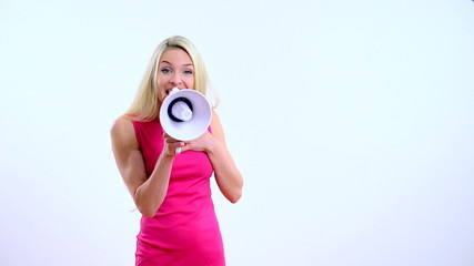 young beautiful woman with megaphone on the white background