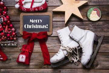Dekoration Weihnachten: Weihnachtskarte in Rot und Weiß rustikal
