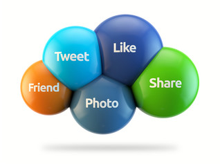social media cloud - like, tweet, share, photo, friend
