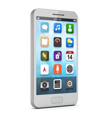 white smartphone with apps on the screen