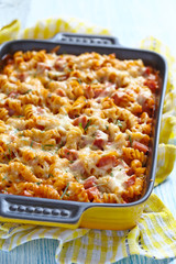 Baked pasta with ham