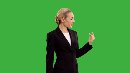 businesswoman with megaphone on green screen. +alpha channel