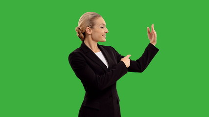 businesswoman crosses his arms  on green screen  +alpha channel