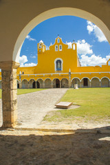 Yellow Mexican Cathedral in Izamal, Mexico