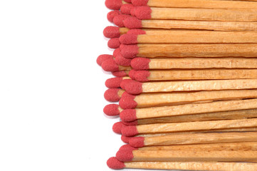 Close-up of a red matches isolated on a white background