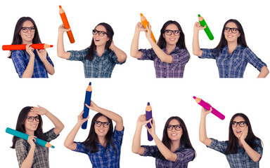 Girl with Glasses Holding Giant Pencils in Multiple Colors