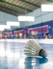 A shuttlecock on the ground in the Badminton court