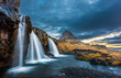 Leinwanddruck Bild - waterfalls and kirkjufell, sunrise, Iceland