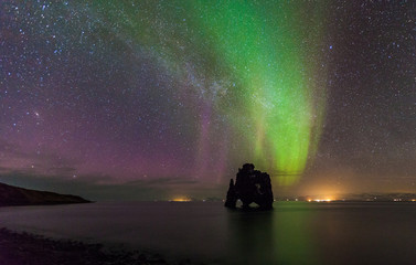 Beautiful \\Northern light over hvitserkur sea stack, Iceland