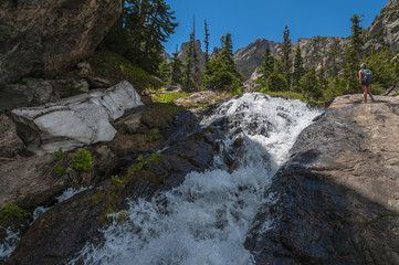 Hiker near the Waterfall Colorado Rockies