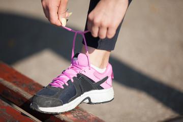 Close up of feet of a runner running