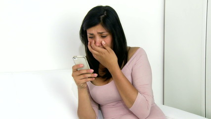 Girl getting bullied on social network crying discovering it