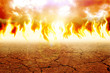 Illustration of fire on arid land - 68304171