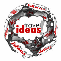 Travel Ideas Thought Cloud Sphere Vacation Plan Brainstorming