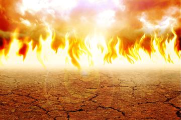 Illustration of fire on arid land