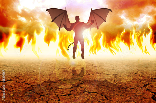 Foto op Plexiglas Draken Silhouette illustration of the Devil against fire background