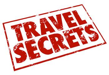 Travel Secrets Stamp Red Ink Advice Tips Information