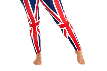 colorful Brittish flag leggings worn by a female model