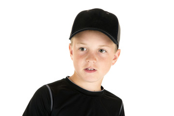 Portrait of a young boy baseball player not looking at camera