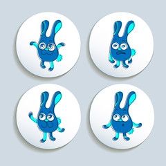 Set of badges with the emotional rabbits