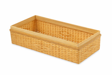 Bamboo box on white background