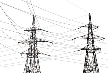 two electrical pylons with long wires