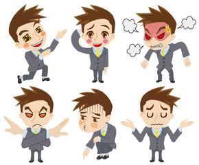二頭身ビジネスマンの感情セット