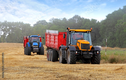 canvas print picture Tractors on harvest