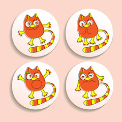 Set of badges with the emotional cats