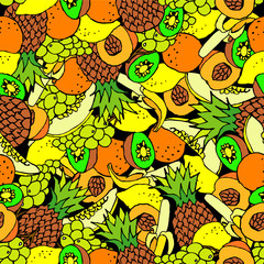 Fruit seamless background. Hand drawn.