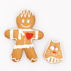 gingerbread man and a cat