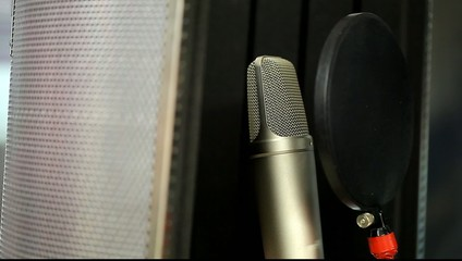 microphone at the front in the studio