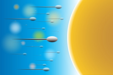 sperm and egg in colorful background