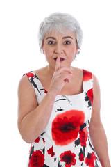 Portrait ältere Frau isoliert: Konzept Wechseljahre