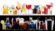 different alcohol drinks set