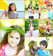 Collage of photo with children playing at park
