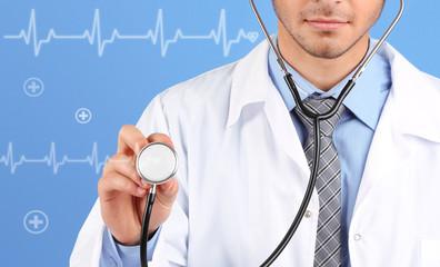 Doctor on blue background