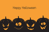 Fototapety Banner with spooky and crazy Halloween pumpkins