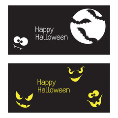 Set of Halloween banners with monster faces in the dark