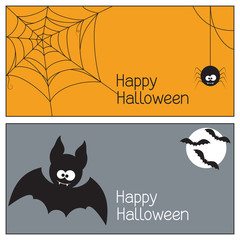 Set of Halloween banners with spider, web and bats