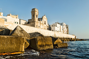 Fortified wall of  Monopoli old town. Puglia. Italy.