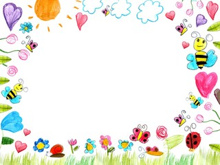 meadow frame child drawings background isolated on white