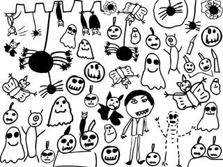 Children doodles of halloween monsters