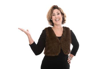 Lachende Business Frau isoliert: Präsentation mit der Hand