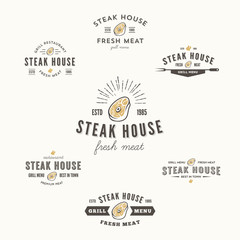 Collection of grill steak badges and logo parts