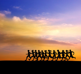 running runners in sunset  background.