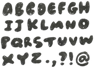 Hand drawn blackened alphabet