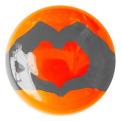 coeur rouge passion sur bouton