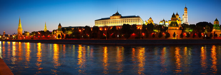 Panorama of Moscow Kremlin in night