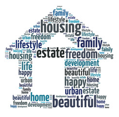 Words illustration of the concept of home over white background